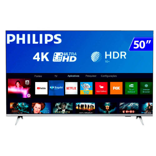 Foto - TV 50P PHILIPS LED SMART 4K USB HDMI
