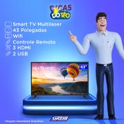 Miniatura - TV 43P MULTILASER LED SMART WIFI FULL HD USB HDMI