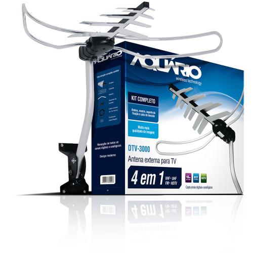 Foto - ANTENA AQUARIO EXTERNA DTV3000 UHF/VHF/HDTV