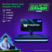 Miniatura - MONITOR GAMER ACER FHD IPS 240HZ 1MS 24,5 XB253Q