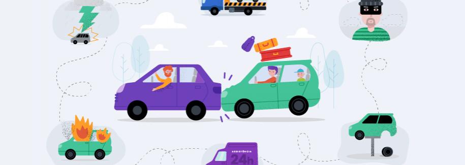 Ilustração com alguns acidentes, como carro batendo, carro com pneu quebrado, carro no guincho, um assaltante de carros e um carro do seguro
