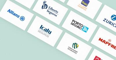 Logo de várias empresas de seguro como Allianz, Icatu, Porto Seguro e Liberty