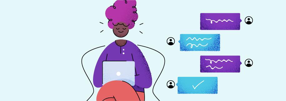 Ilustração de uma garota com notebook no colo, imaginando uma conversa utilizando um chat