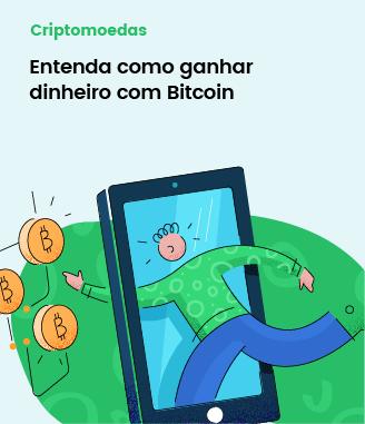 Ilustração de um garoto atravessando um smartphone, tentando pegar algumas moedas de bitcoin