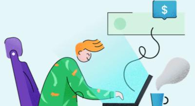 Ilustração de uma pessoa mexendo no computador