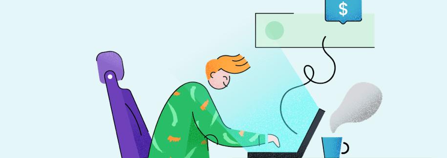 Ilustração de um garoto sentado numa proltrona teclando no notebook com uma xícara de café em frente