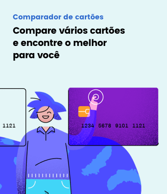 Ilustração de uma pessoa clicando em um cartão de crédito