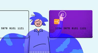 Ilustração de uma pessoa clicando em 2 cartões de crédito