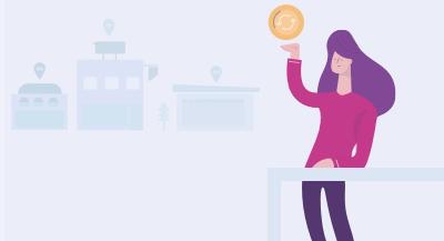 Ilustração de uma mulher segurando uma moeda