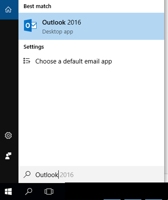 Busque o aplicativo do Outlook na lupa do seu Windows.