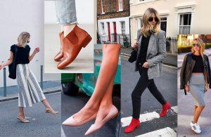 Como ficar elegante e bem vestida usando sapatos baixos por Camila Gaio
