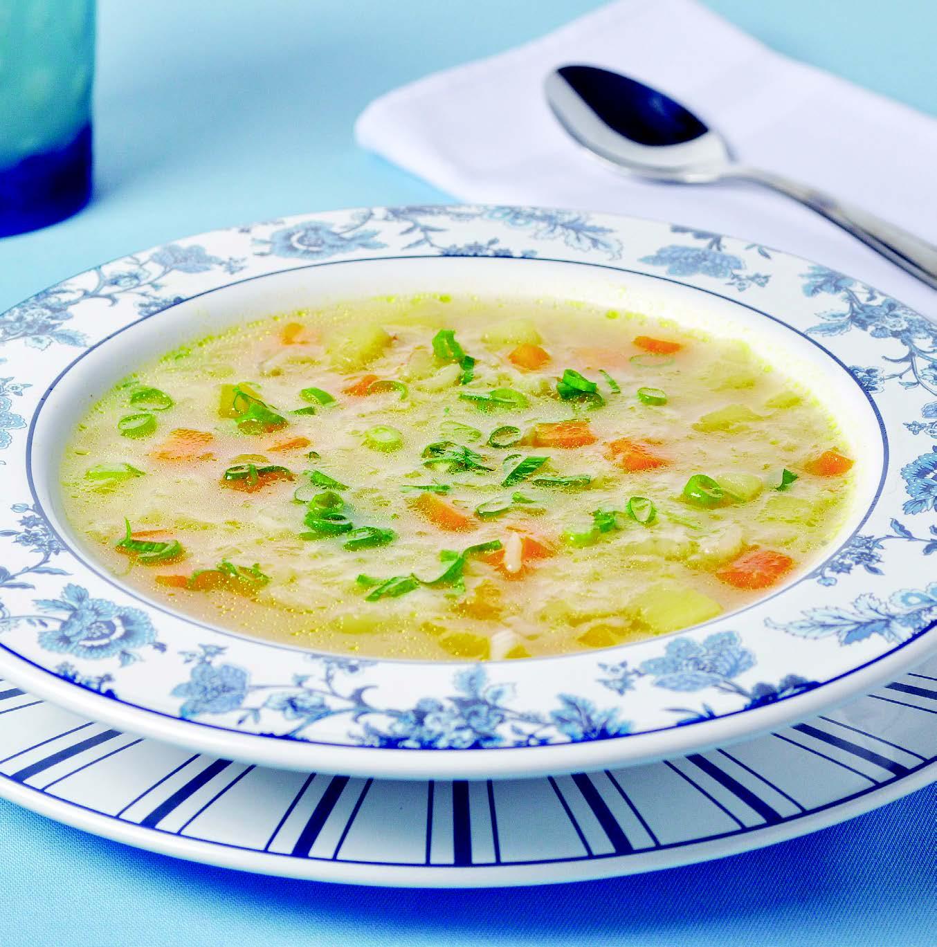 Sopa de alho poró com gengibre