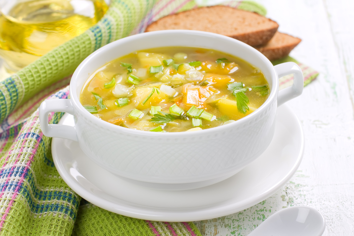Sopa de alho-poró e gengibre