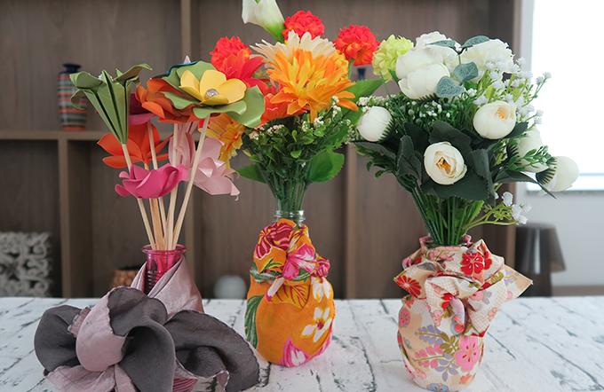 Como fazer um vaso de flor com Furoshiki por Sofia Nanka