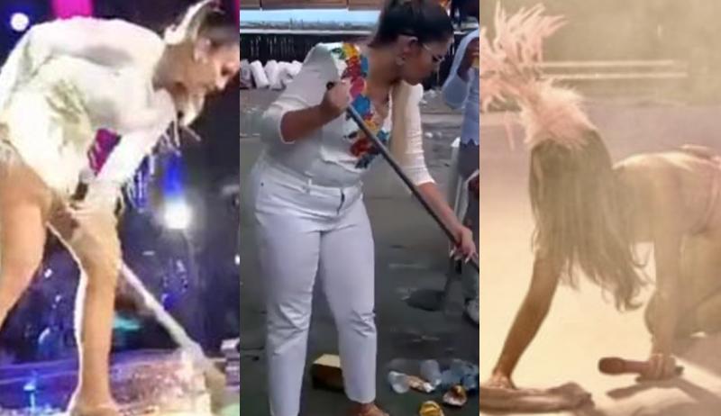 """Marília Mendonça """"imita"""" Claudia Leitte e Ivete Sangalo, limpa o chão e divide opiniões"""