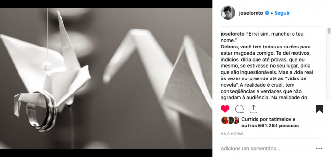 """José Loreto admite traição, pede perdão e Dieeckman, Viviane Aráujo e outras famosas apoiam ator: """"Manchei teu nome"""""""