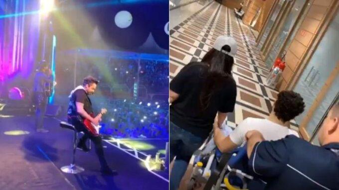 Com graves dores, Fernando Zor, da dupla com Sorocaba, não consegue ficar em pé, faz show sentado e vai parar no hospital