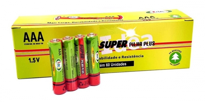 pilha aaa palito 1,5 v super plus idea caixa com 60 unidades