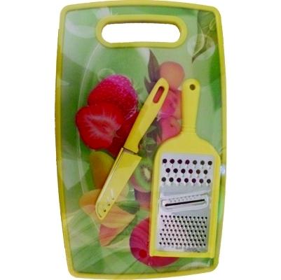 t�bua de corte carne cozinha de pl�stico com ralador e faca colorida