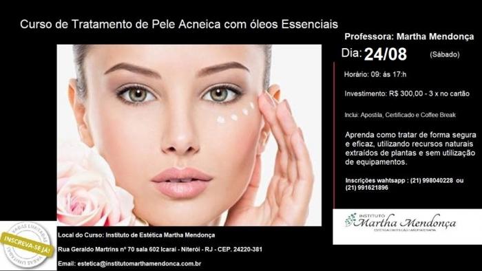 INSCRIÇÃO: Curso de Limpeza de pele e tratamento de acne com óleos essenciais
