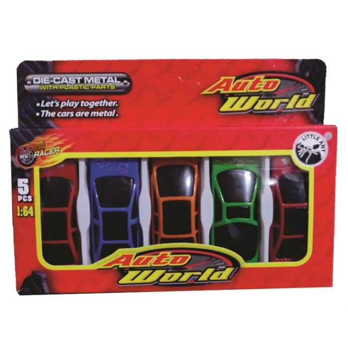 kit de carrinhos com 5 unidades modelos e cores mescladas