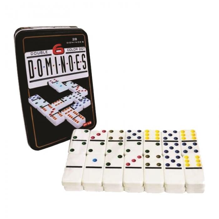 jogo de domin� profissional na lata 28 pe�as coloridos