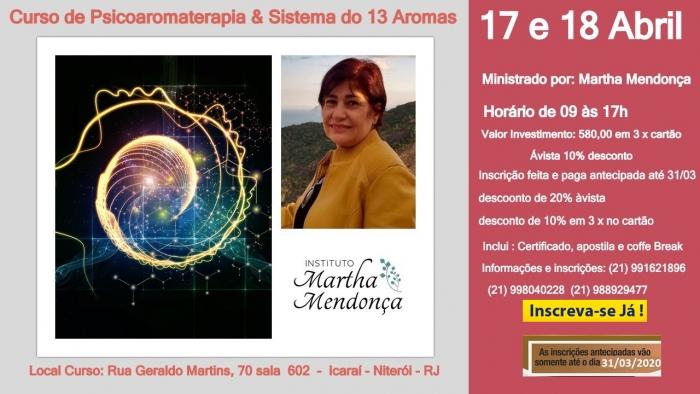 Inscrição :Curso de Psicoaromaterapia & Sistema do 13 Aromas