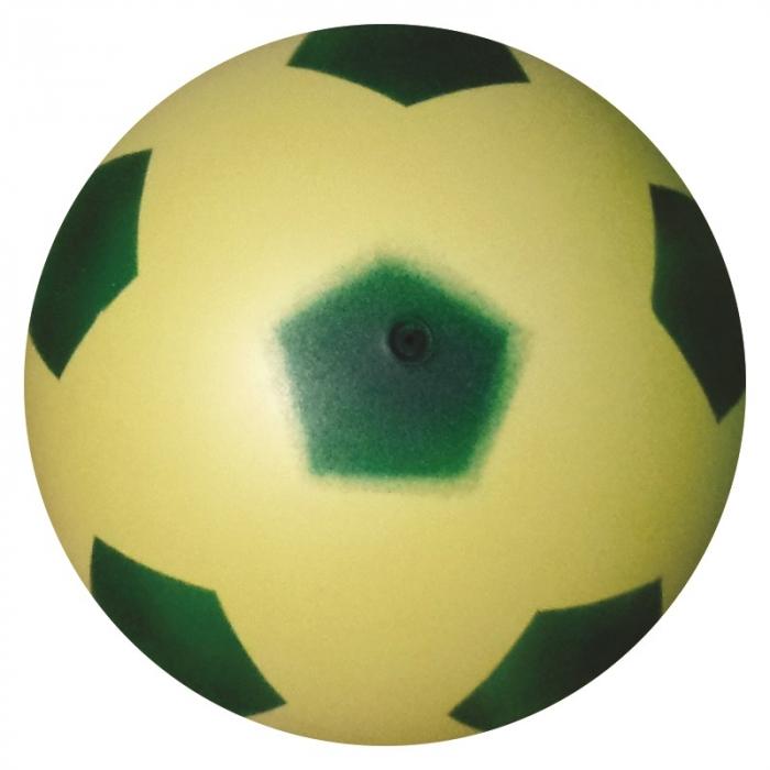 bola de vinil dente de leite de futebol amarelo com verde vazia