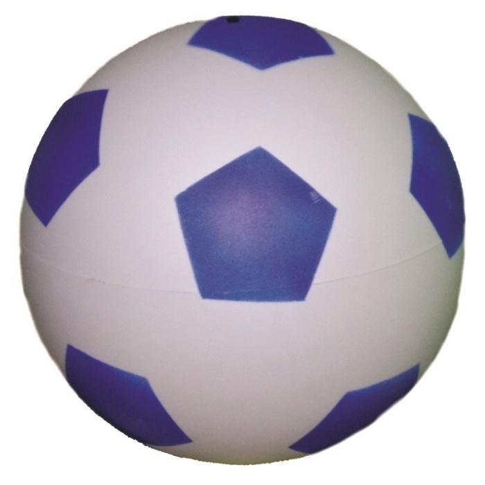 bola de vinil dente de leite de futebol branco com azul vazia