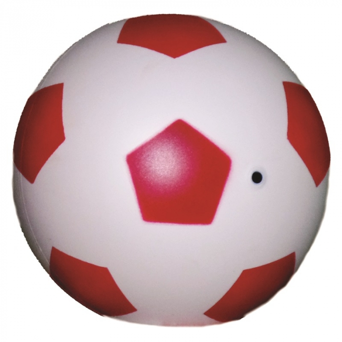 bola de vinil dente de leite de futebol branco com vermelho vazia