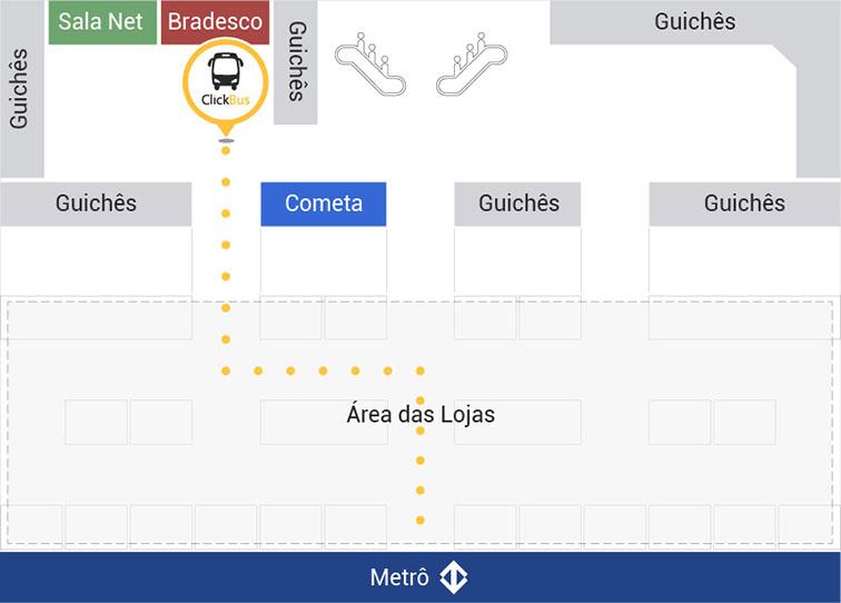 Mapa do quiosque ClickBus na estação Tiete
