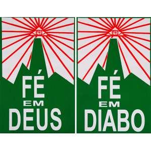 ALEXANDRE VOGLER<br>Fé em Deus/Fé em Diabo<br>serigrafia a cores impressa s/ papel, ass., dat. 2001/04, tit. e num. 89/100 no verso<br>71 x 111 cm