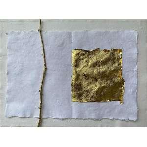 NELSON FÉLIX<br>Sem Título<br>ouro e bronze s/ papel (2020)<br>30 x 36 cm