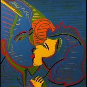 RUBENS GERCHMAN <br> Beijo<br>serigrafia a cores impressa s/ papel, ass. e num. 92/100 na parte inf. <br>70 x 71 cm<br> Doação: Galeria Tina Zappoli