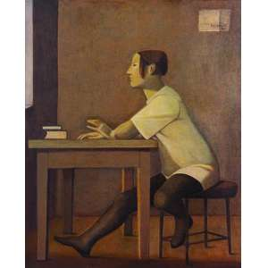 REYNALDO Fonseca<br>A Aluna<br>óleo s/ tela, ass., dat. 1992 sup. dir., ass., dat. 1992 no verso e com etiqueta da Galeria Ipanema no chassi<br>100 x 81 cm