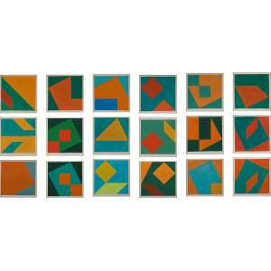DEL SANTO, Dionísio<br>Sem Título<br>conjunto de 18 guaches s/ papel, todos ass. e dat. 1987 inf. dir.<br>12 x 12 cm (cada) 42 x 12 cm (total)