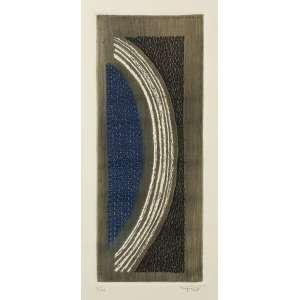 PIZA, Arthur Luiz<br>Saturne<br>gravura em metal (goiva e relevo) em cores impressa s/ papel, ass. inf. dir. e n. 70/99 inf. esq. (1976) Um exemplar catalogado sob o n. 199 do livro Piza – Catalogue general de l'oeuvre gravé, de K. Masrour (França: Art Moderne International, 1981)<br>MI 33,5 x 13,5 cm - ME 58 x 38 cm
