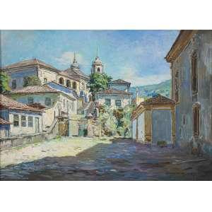 TEIXEIRA, Oswaldo<br>Paisagem de Ouro Preto<br>óleo s/ chapa de madeira industrializada, ass. inf. dir.<br>46 x 64 cm
