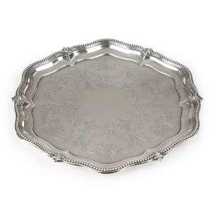 Salva Sextavada<br>prata de lei inglesa; período vitoriano,<br>1 x 25 x 27 cm - 448 g