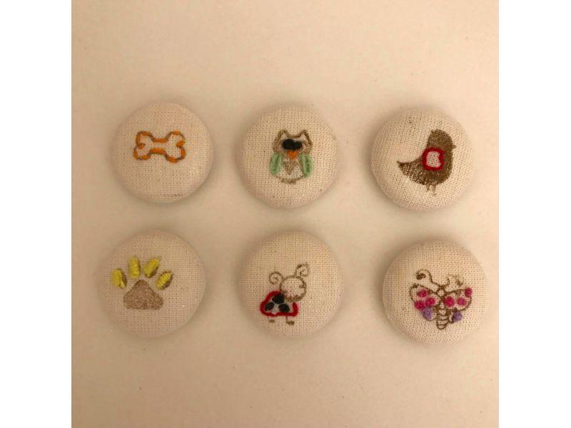 Botões forrados bordados - Pets