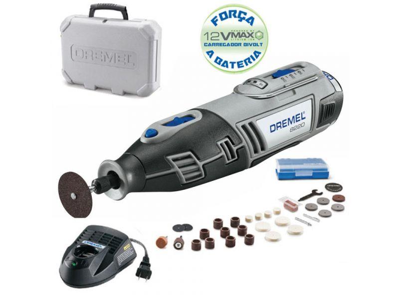 Retífica Dremel 8220 À Bateria 12v Bivolt Com Kit De 30 Acessórios + Maleta Dremel