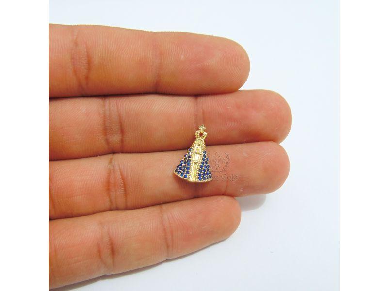 Pingente Nossa Senhora Aparecida Com Manto de Cristal Azul em Prata ... fa301cbb19