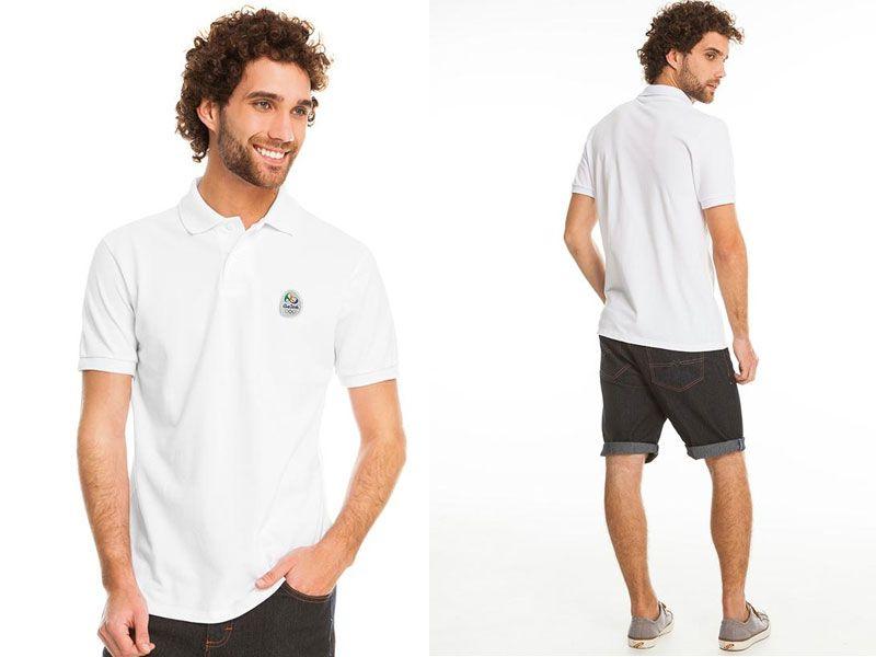 Camisa Polo Masculina Olimpíadas Branco Malwee