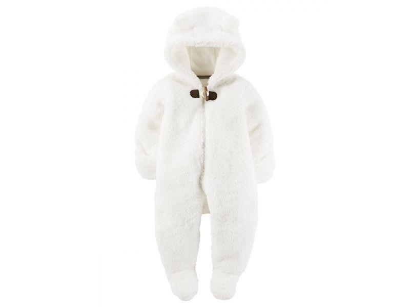 Macacão pelúcia urso branco Carter's