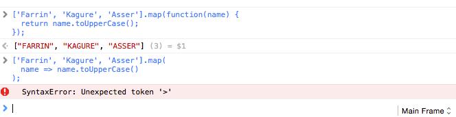 Uma função arrow é executada e causa erro de sintaxe no Safari 9. Fechar