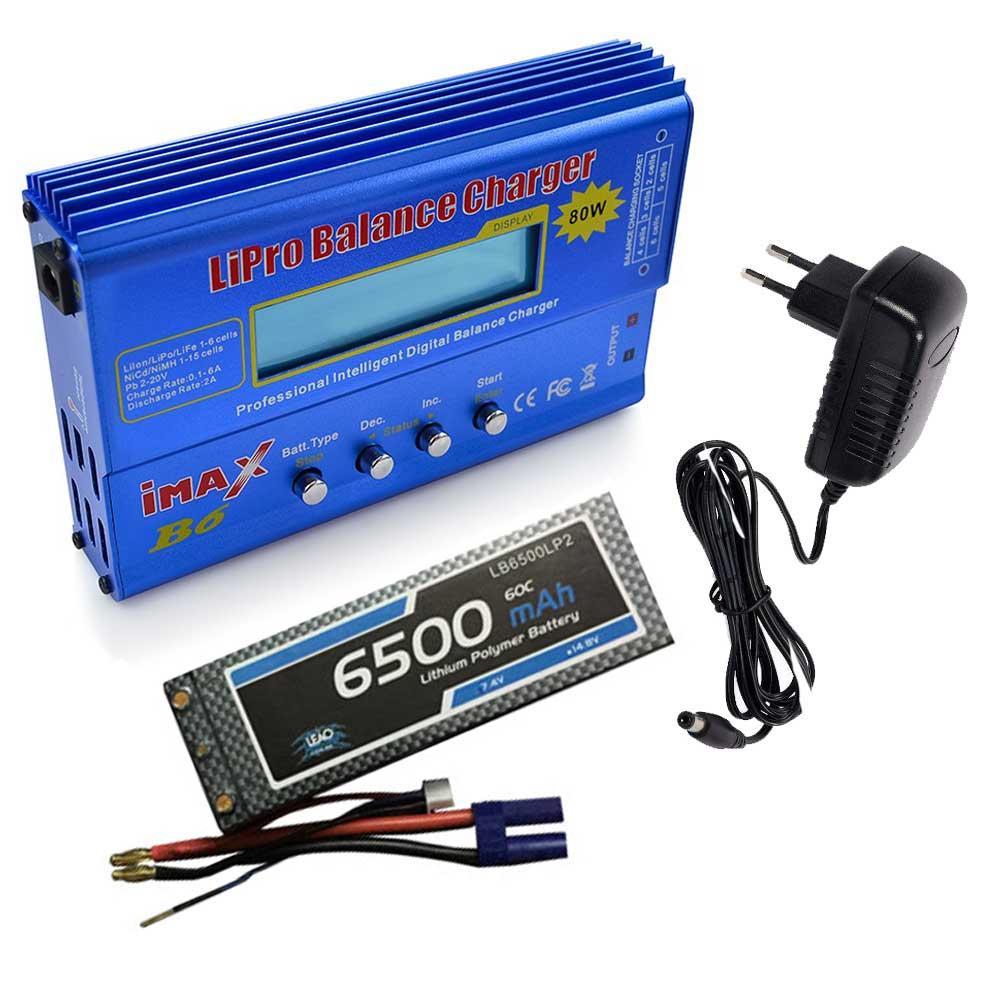 Carregador Imax B6 e Bateria LIPO 7.4V - 6500mAh - EC5