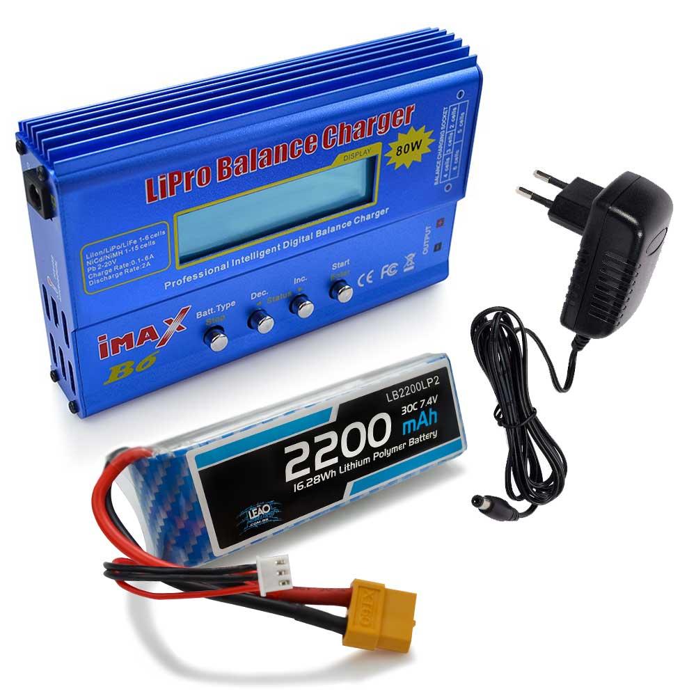 Carregador Imax B6 e Bateria LIPO 7.4V - 2200mAh - XT60