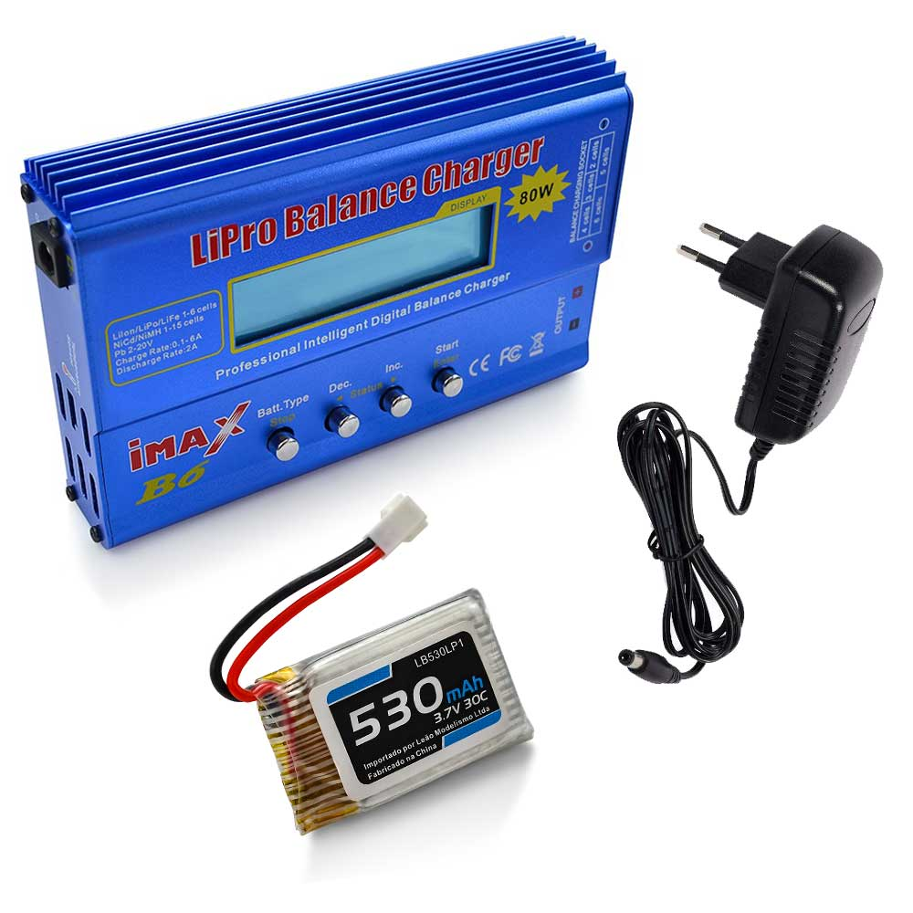 Carregador Imax B6 e Bateria Lipo 530mAh 3.7V