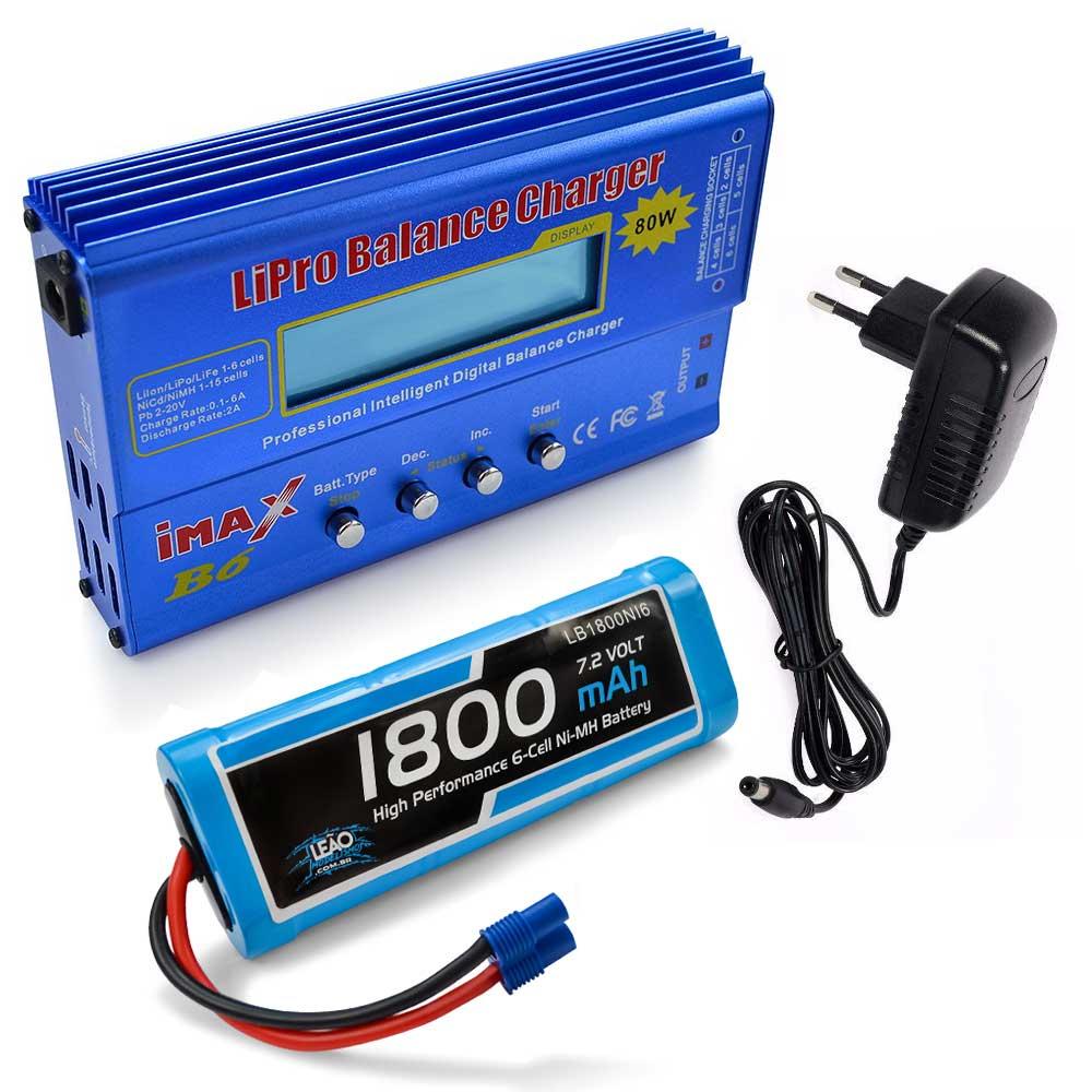 Carregador Imax B6 e Bateria NiMh 7.2V - 1800mAh - EC3