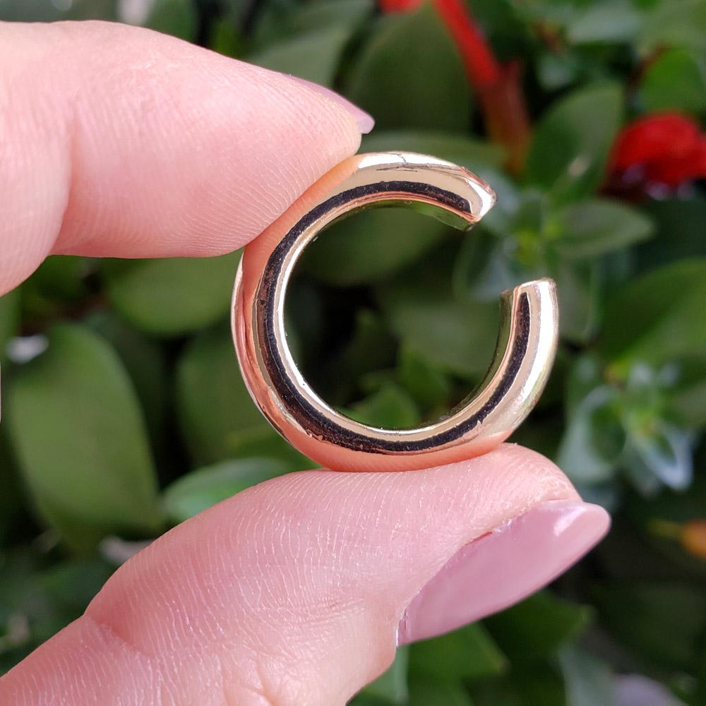 Piercing Pressão Elo Liso Grande 25 mm Folheado em Ouro - Unidade